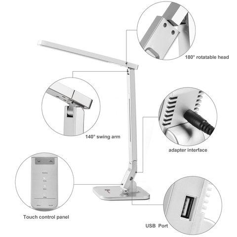Настольная бестеневая лампа TaoTronics TT-DL07, серебристая, EU Превью 5