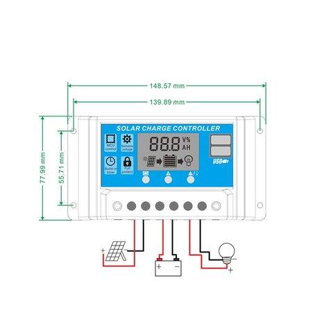 Контролер заряджання фотомодуля PVI-PWM-30A (30 A) Прев'ю 1