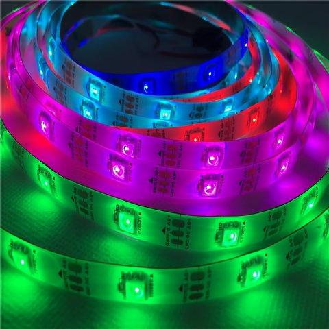 Світлодіодна стрічка RGB SMD5050, WS2812B (біла, з управлінням, IP65, 5 В, 30 діодів/м, 5 м)