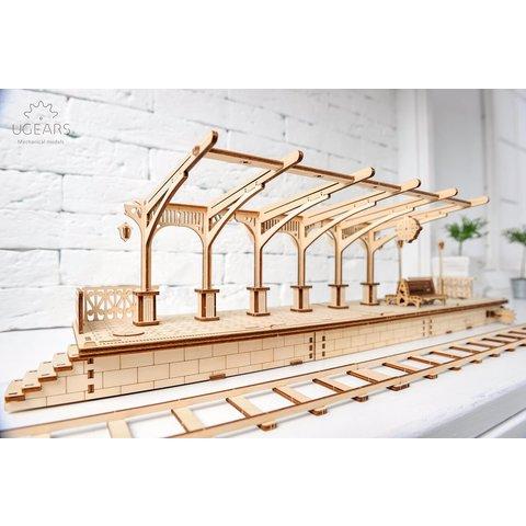 Mechanical 3D Puzzle UGEARS Railway Platform Preview 5